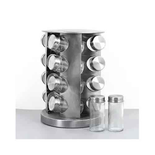 Spice Rack 16 Pcs Jars Revolving Counter Top