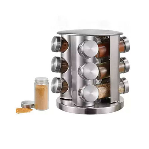 12 Pcs Spice Rack Revolving Counter Top Stainless Steel Spice Carousel For Kitchen