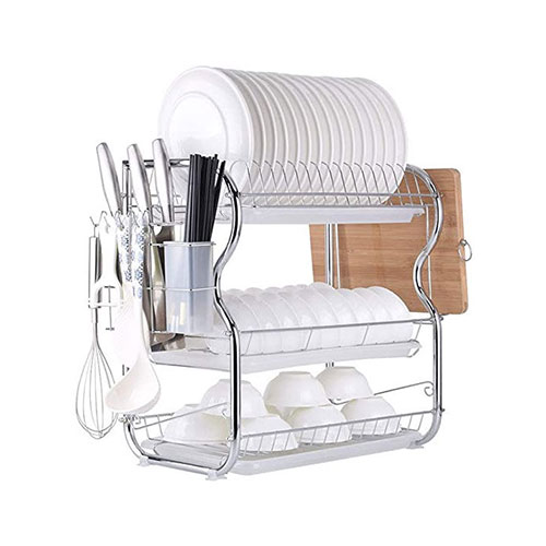 3 Layer Dish Drainer Rack Stainless Steel